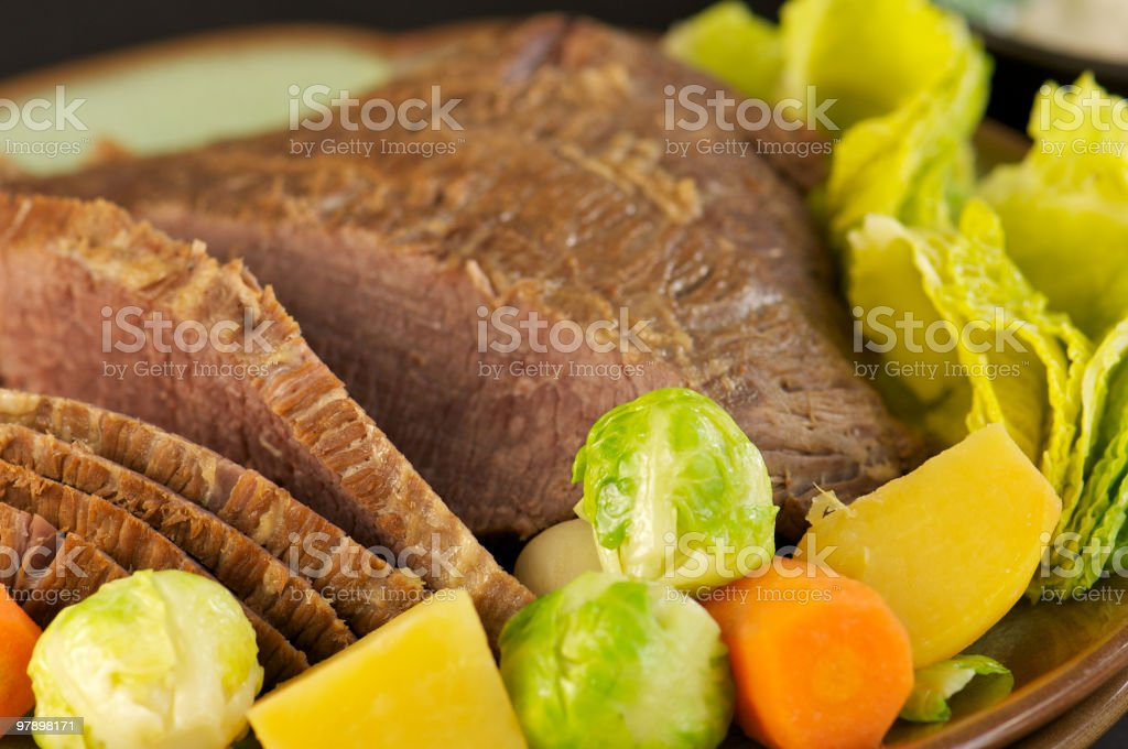 Homemade Corned Beef with Vegetables royalty-free stock photo
