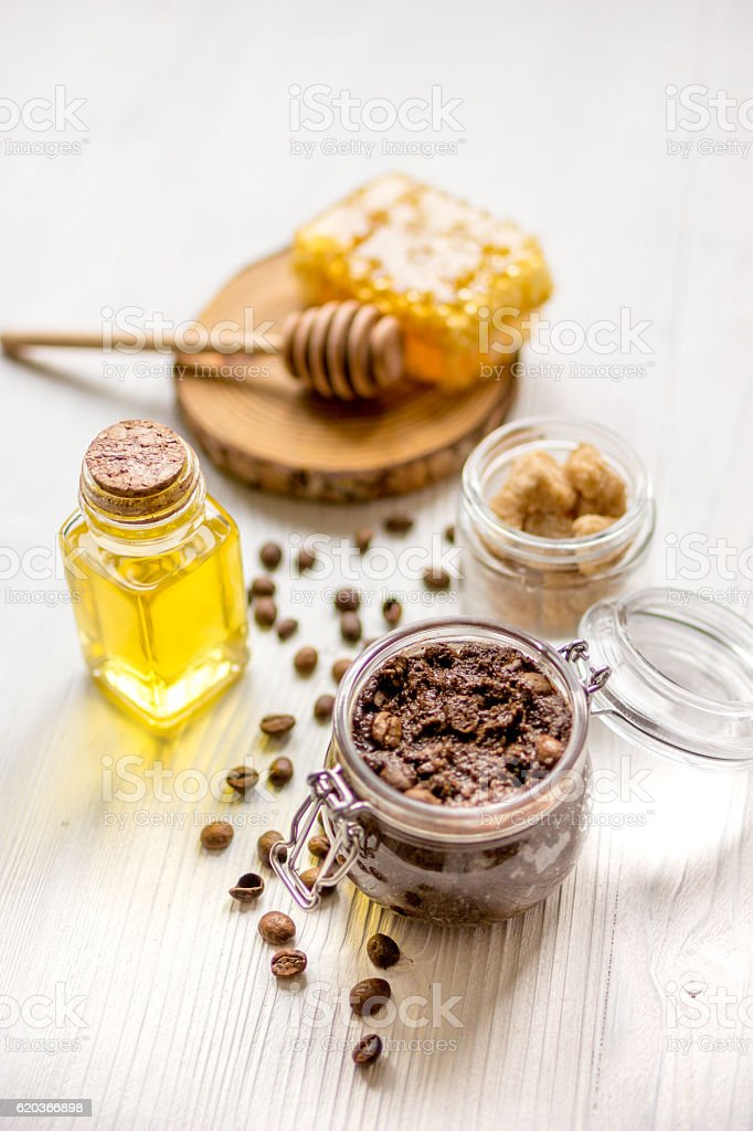 homemade cosmetics based on honey and coffe zbiór zdjęć royalty-free