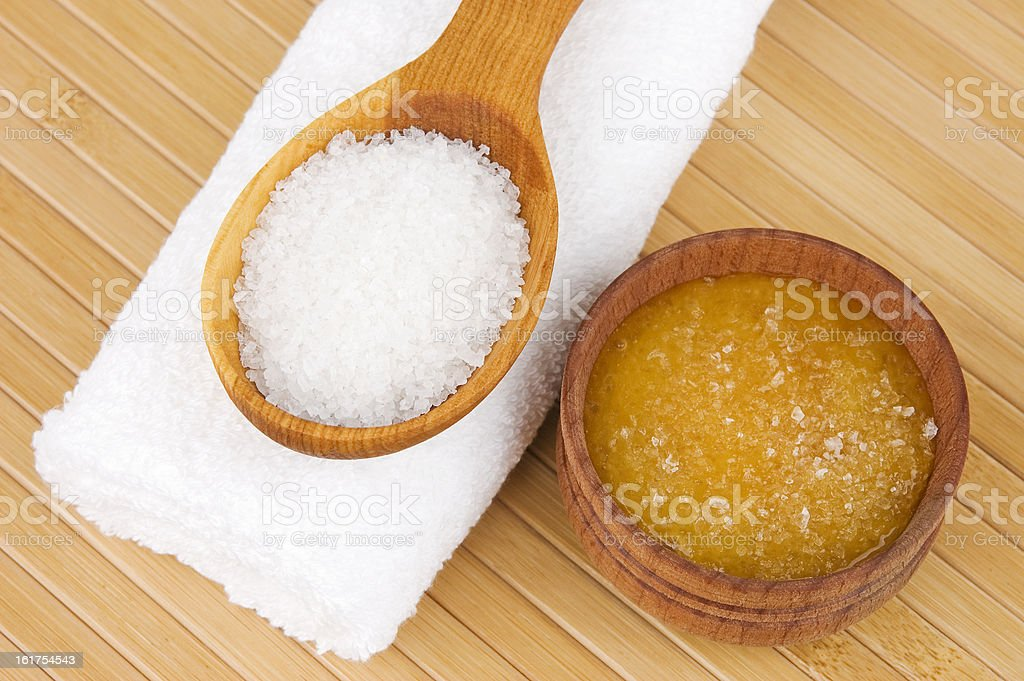 Homemade cosmetics on table with salt stock photo