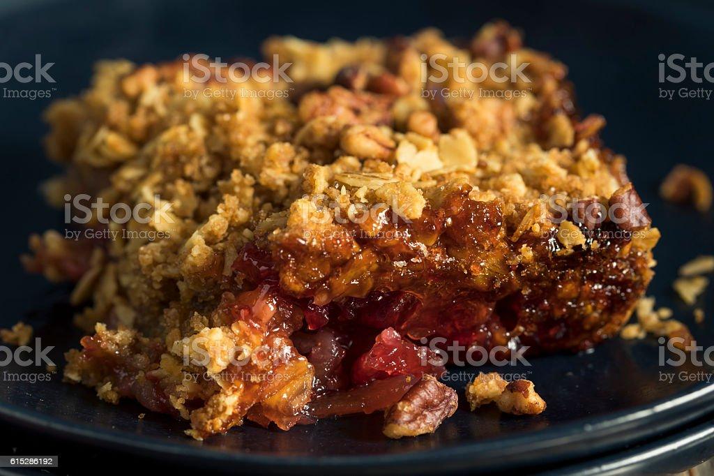 Homemade Cranberry Apple Cobbler Crumble stock photo