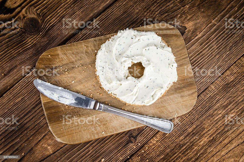 Homemade cream cheese Bagel stock photo
