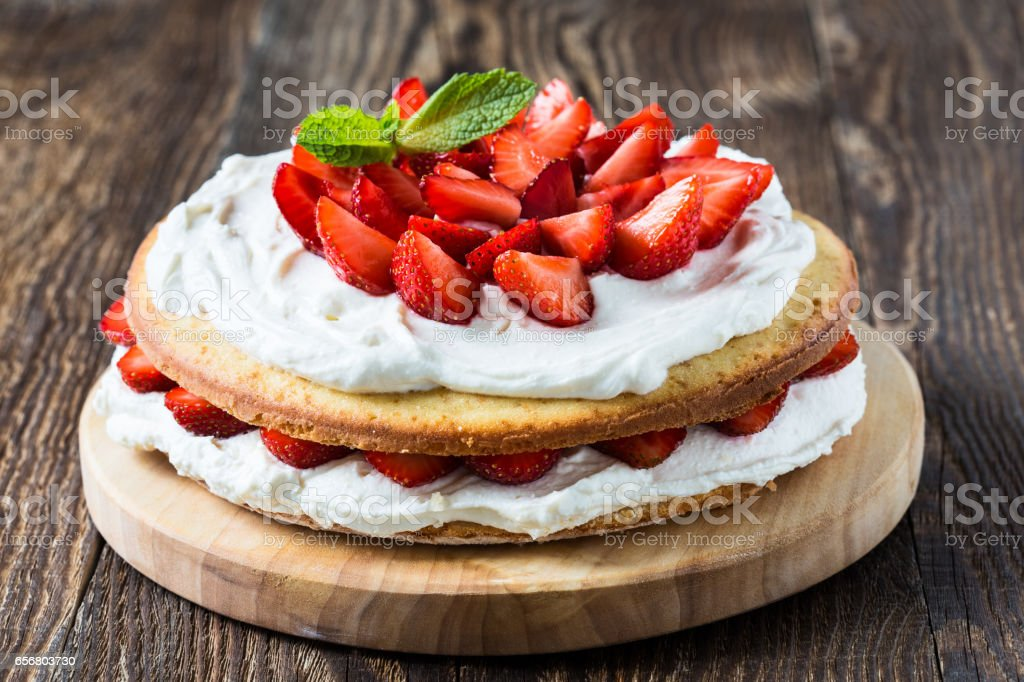 Homemade cream layer cake, fresh, colorful, and delicious dessert stock photo