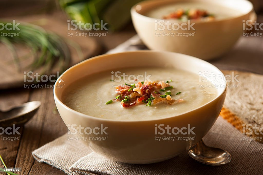 Homemade Creamy Potato and Leek Soup stock photo