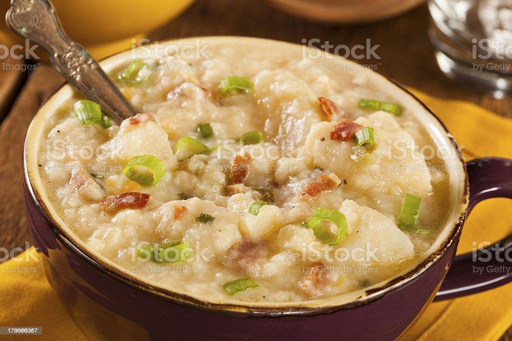 Homemade Creamy Potato Soup stock photo