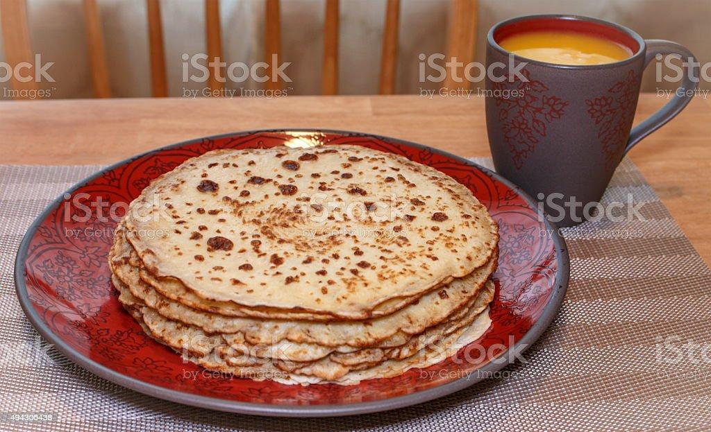 Homemade Crepes and Orange Juice stock photo