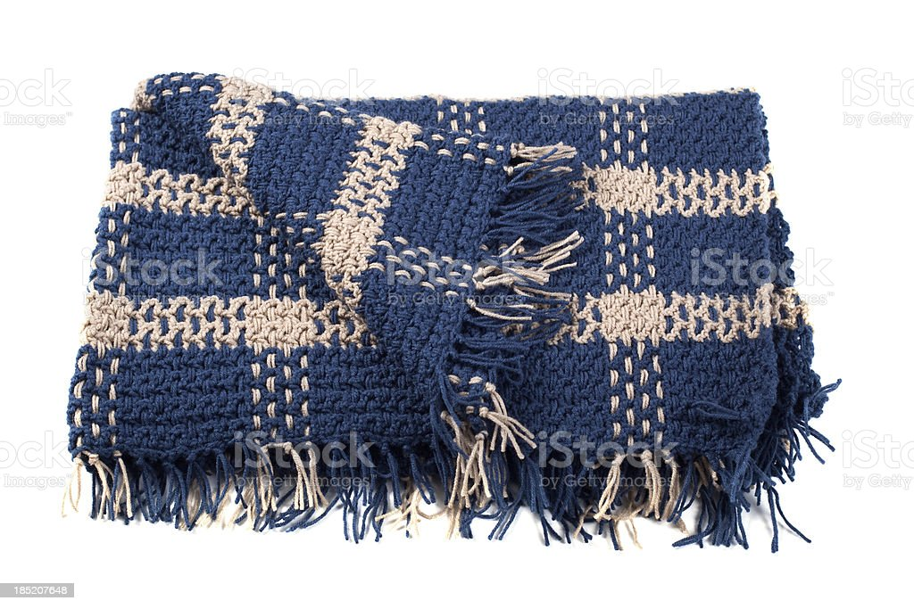 Homemade Crocheted Yarn Afghan Blanket Isolated on White Background royalty-free stock photo