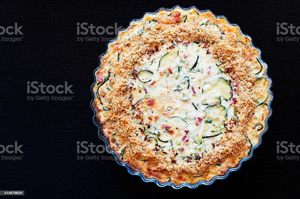 Homemade Crustless Zucchini Quiche stock photo