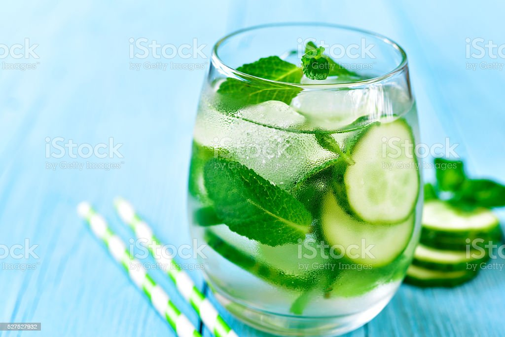 Homemade cucumber and mint lemonade. stock photo