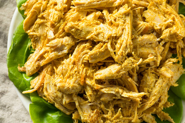 Homemade Curried Coronation Chicken with Lettuce stock photo