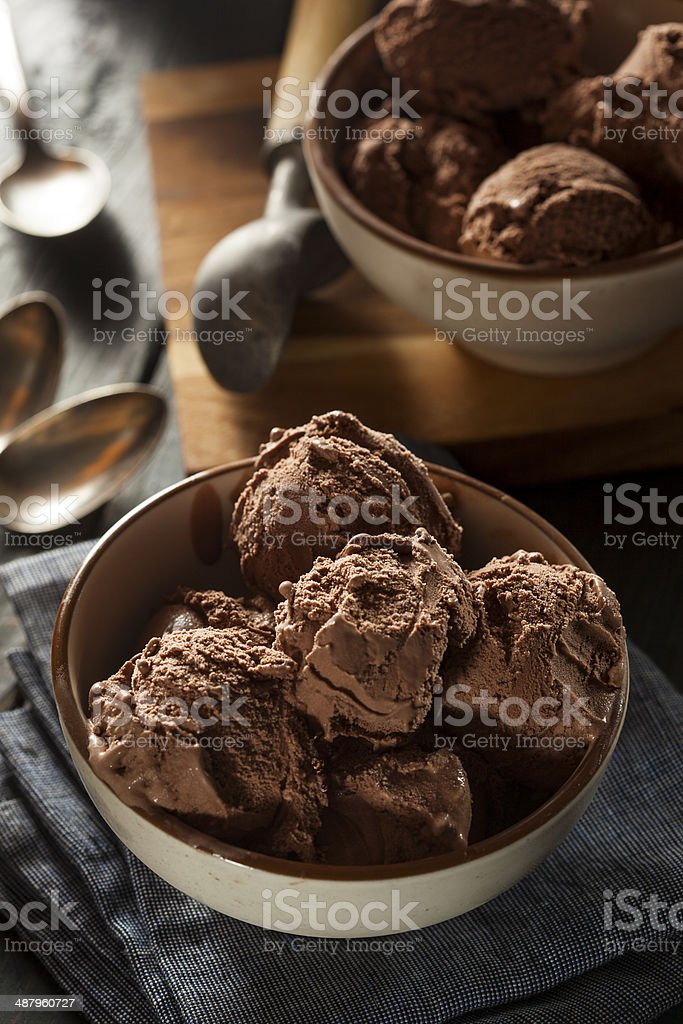 Homemade Dark Chocolate Ice Cream stock photo