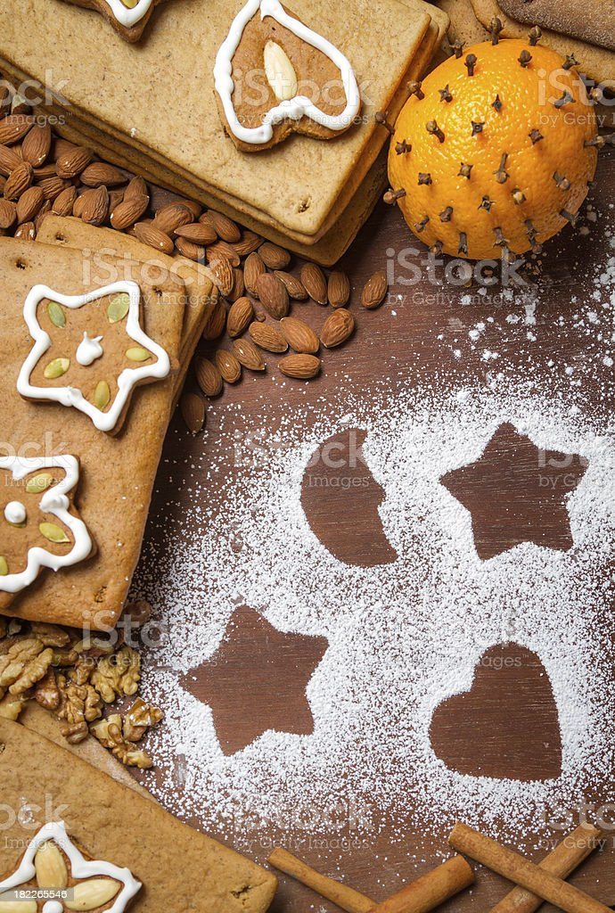 Homemade decorating gingerbread cookies royalty-free stock photo