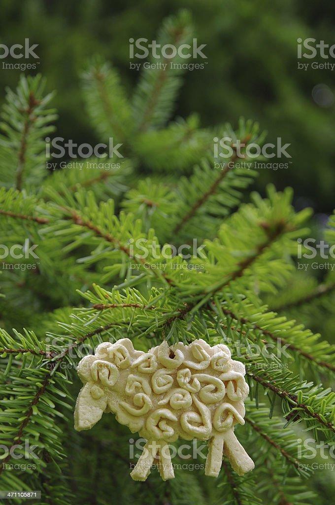Homemade decoration on christmas tree royalty-free stock photo