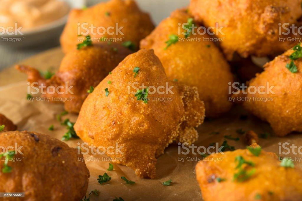 Homemade Deep Fried Hush Puppies stock photo