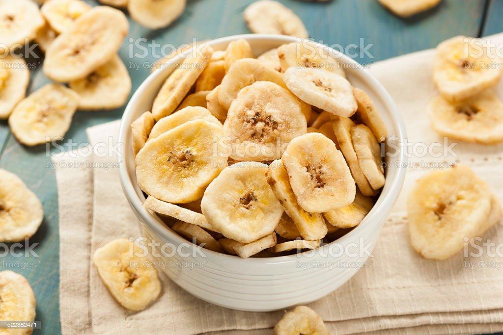 Homemade Dehydrated Banana Chips stock photo