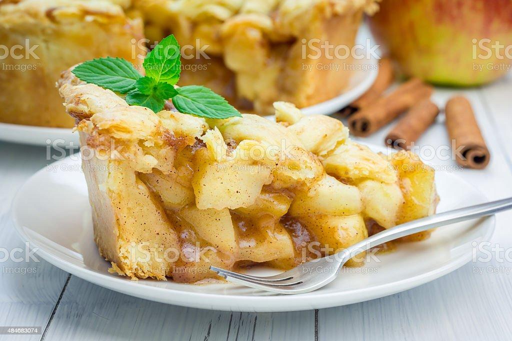 Homemade delicious apple pie with lattice pattern stock photo