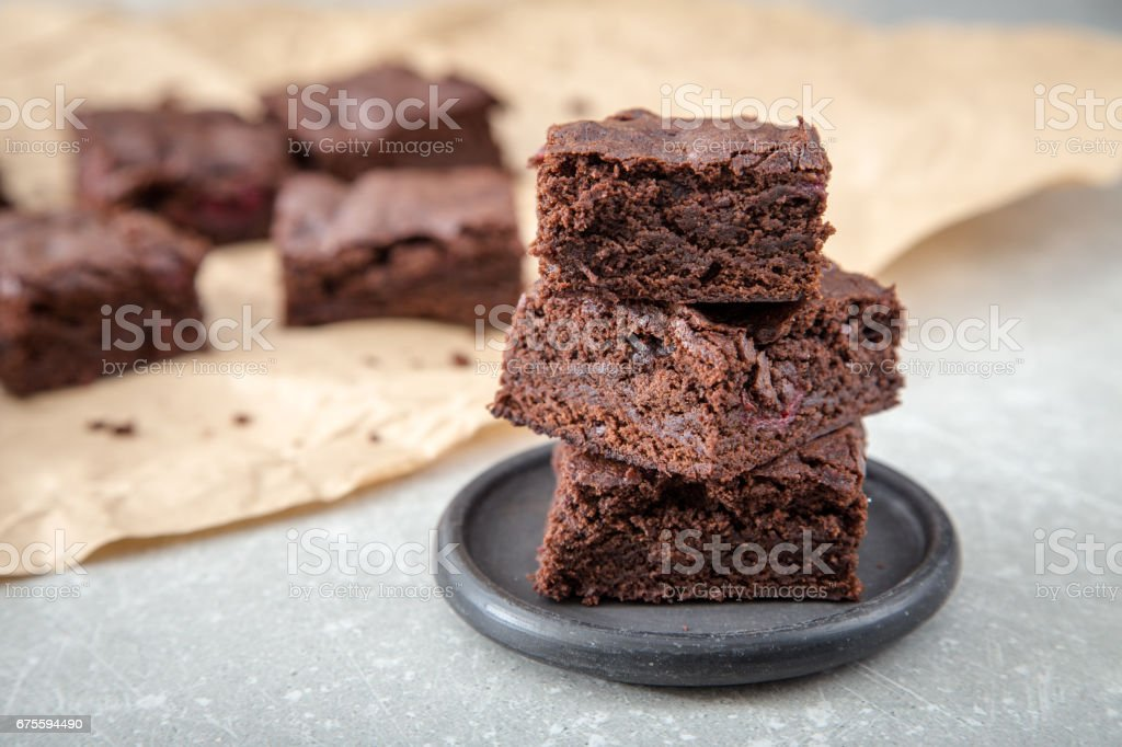 Homemade Delicious Chocolate Brownies. closeup chocolate cake - foto stock