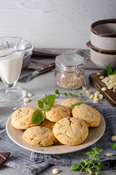 Homemade delish chocolate cookies stock photo