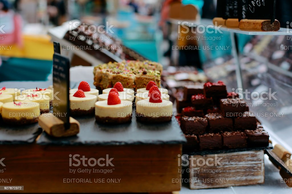 Homemade desserts on sale in Greenwich Market, London, UK. stock photo
