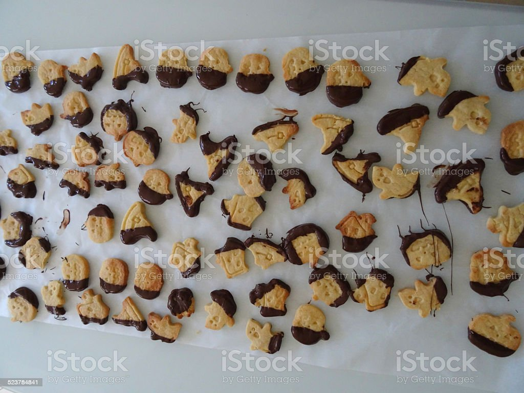 Homemade dipped-chocolate biscuits / cookies, pumpkins, witches, ghosts, ghouls, cookie-cutters stock photo