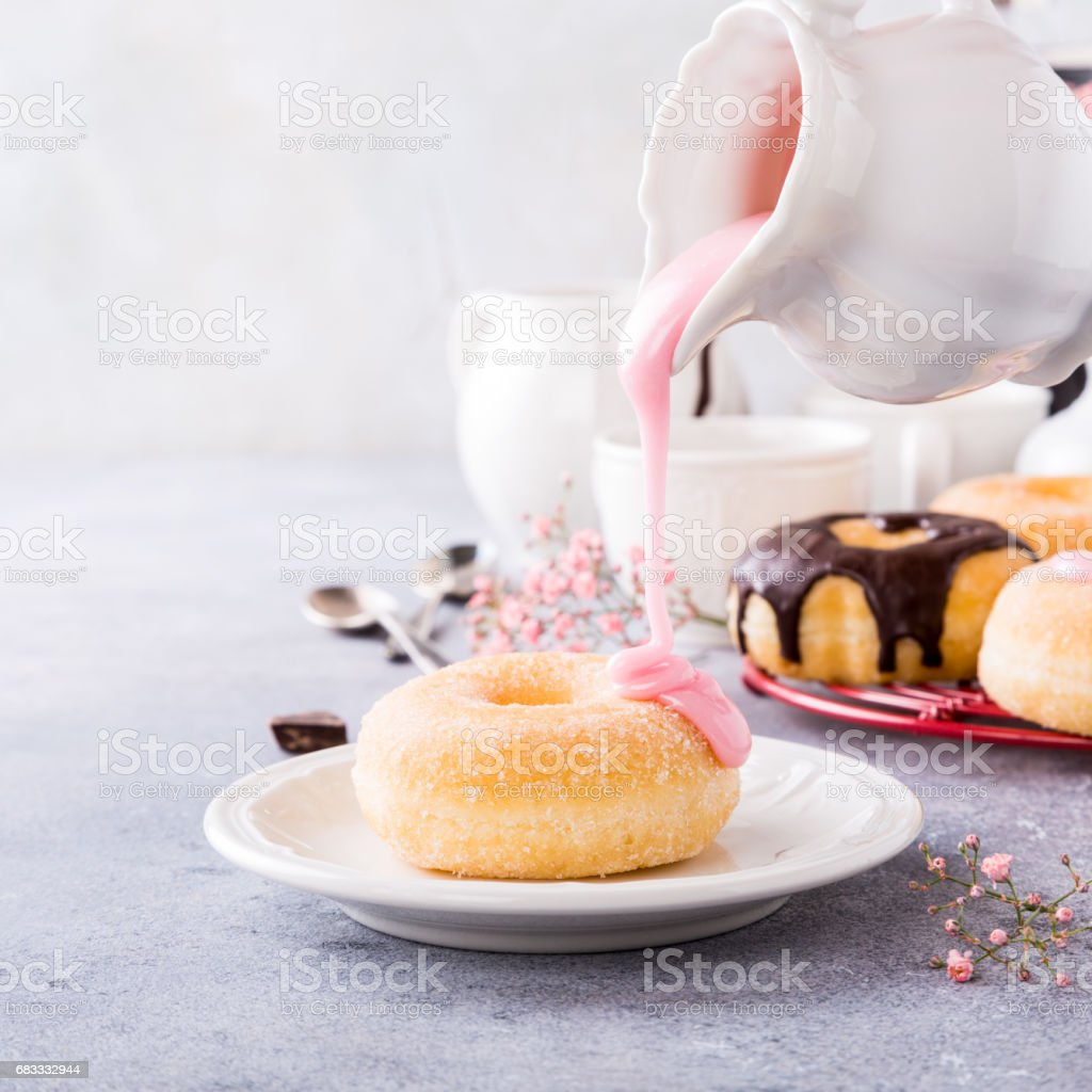 Homemade donuts with glaze royalty-free stock photo