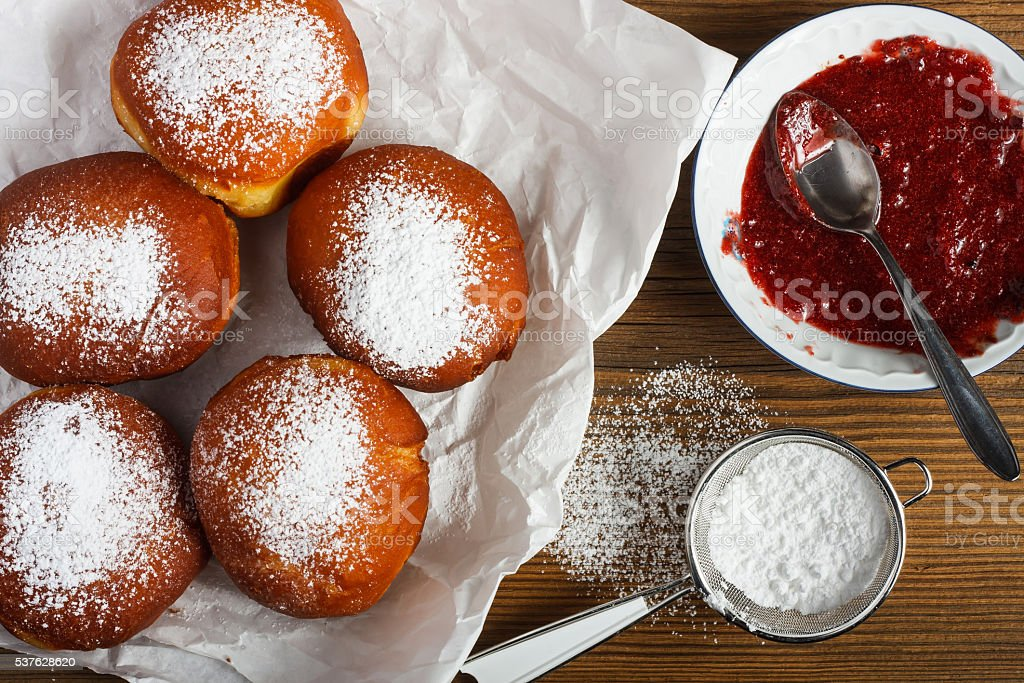 Homemade doughnuts stock photo