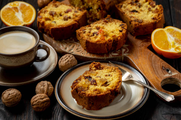 Homemade dry fruit cake and cup of coffee. stock photo