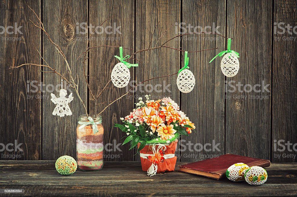 Homemade Easter decoration stock photo