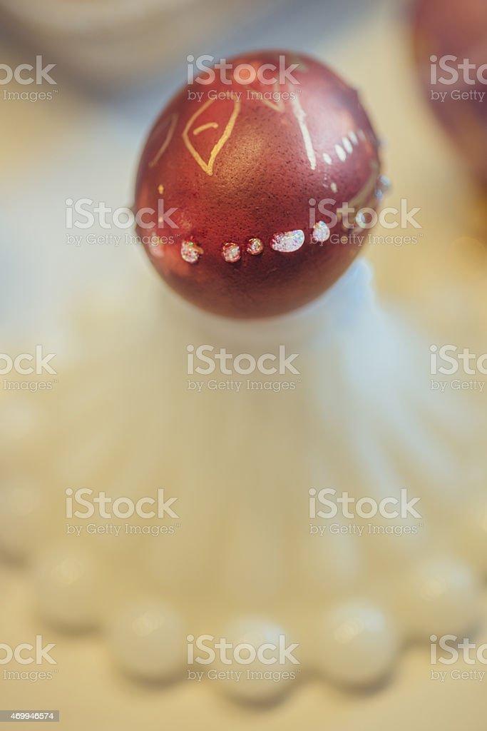 Homemade Easter egg stock photo