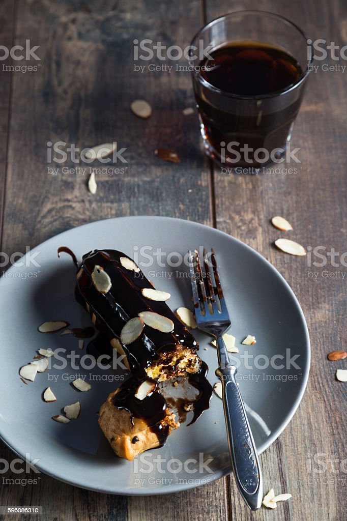 Homemade eclair in rustic style royalty-free stock photo