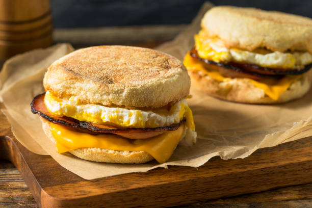 Homemade Egg English Muffin Sandwich stock photo