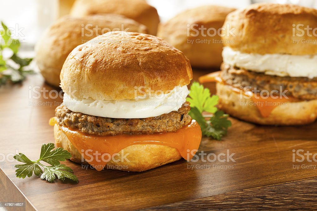 Homemade Egg Sandwich with Sausage and Cheese stock photo