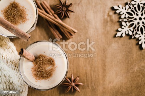 istock Homemade Eggnog Cocktail for Christmas Eve. 882340472