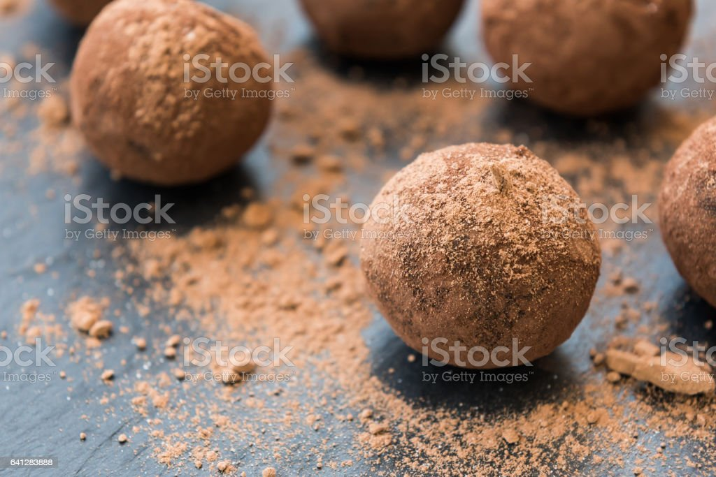 Homemade energy balls with chocolate stock photo