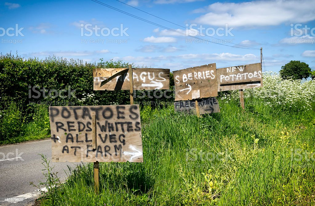 Homemade farm produce signs beside a country road stock photo