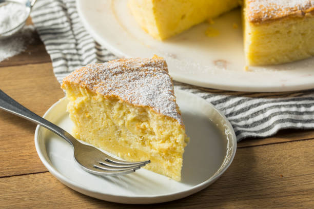 Homemade Fluffy Japanese Cheesecake stock photo