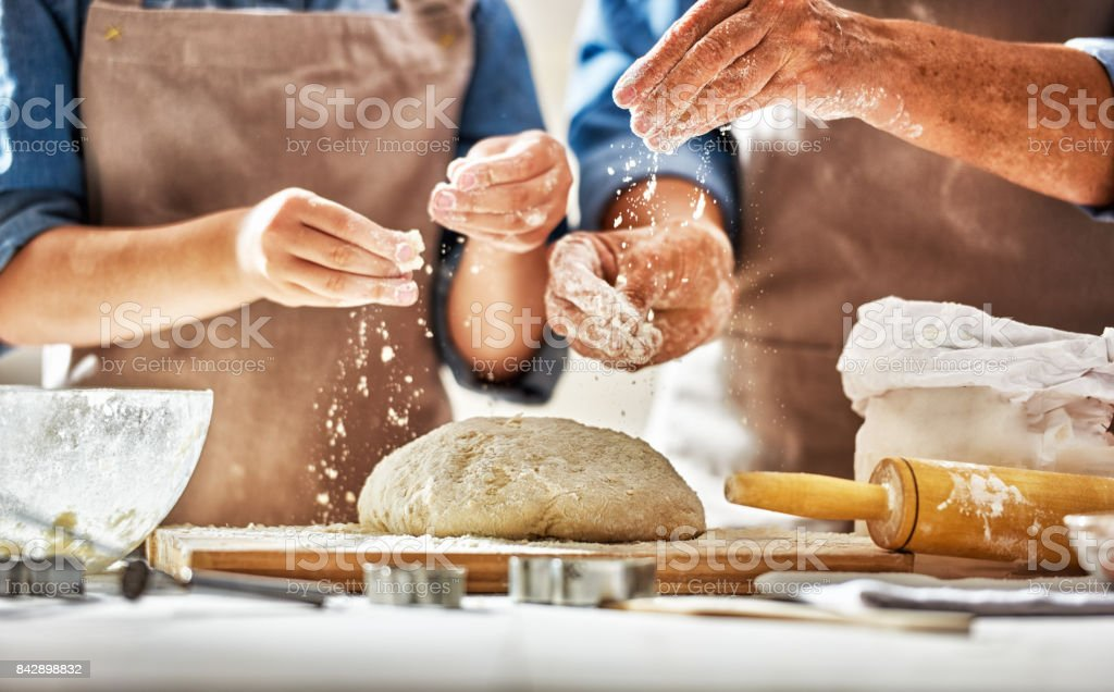 Homemade food and little helper stock photo