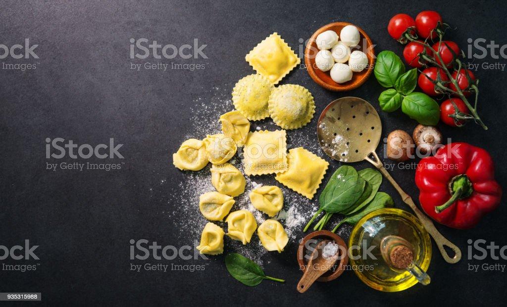 Homemade fresh Italian ravioli pasta stock photo