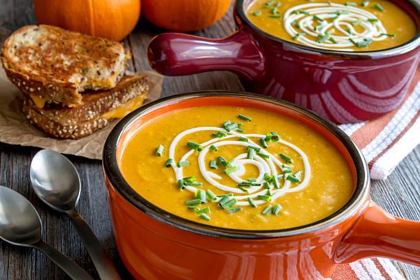 Homemade fresh pumpkin squash soup stock photo