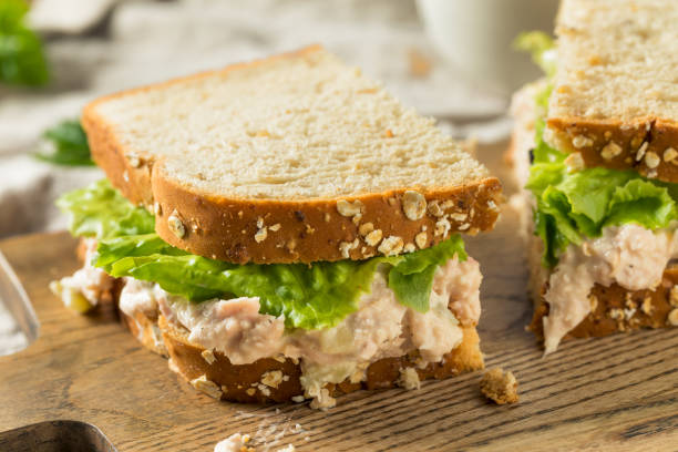 Homemade Fresh Tuna Salad Sandwich stock photo