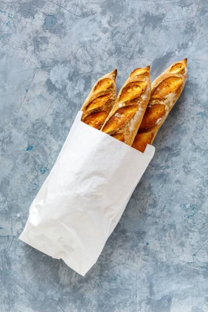 Homemade freshly baked baguettes. stock photo