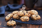 Homemade freshly baked oatmeal and fruits cookies