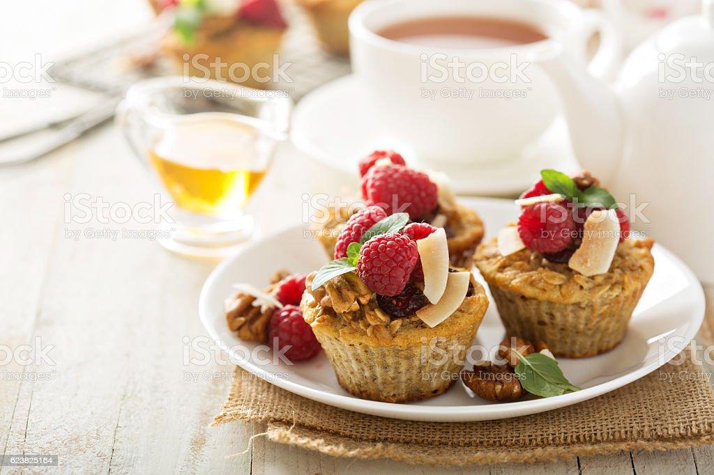 Homemade freshly baked oatmeal muffins stock photo
