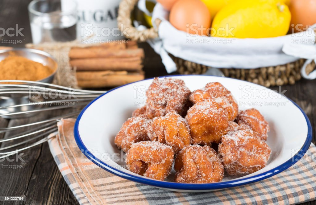 Homemade fritters with sugar stock photo