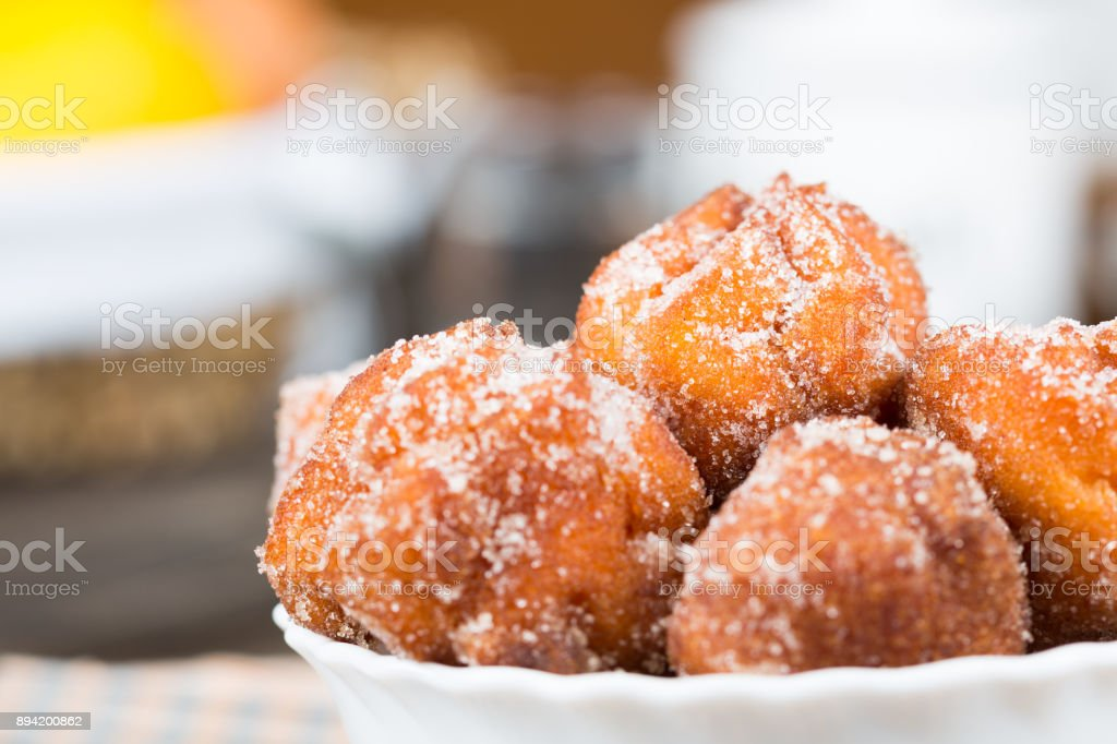 Homemade fritters with sugar - Foto stock royalty-free di Acqua