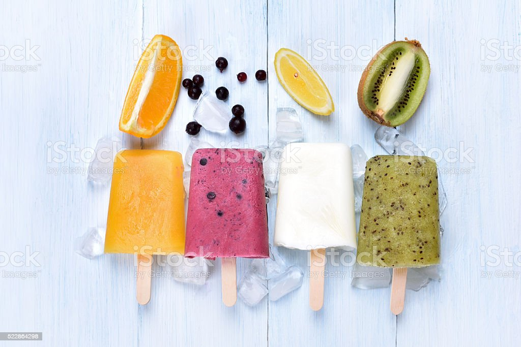 Homemade frozen ice cream popsicles stock photo