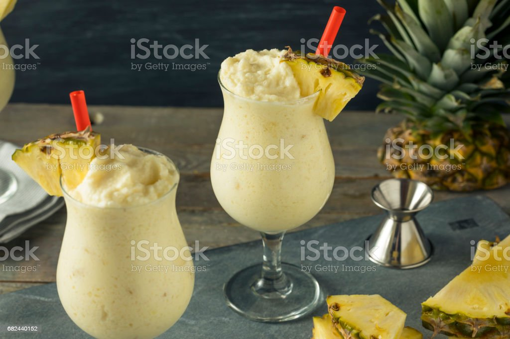 Homemade Frozen Pina Colada Cocktail royalty-free stock photo