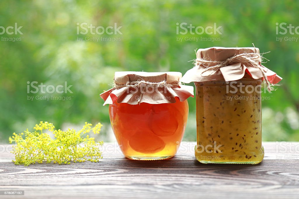 Homemade fruit jam in the jar stock photo