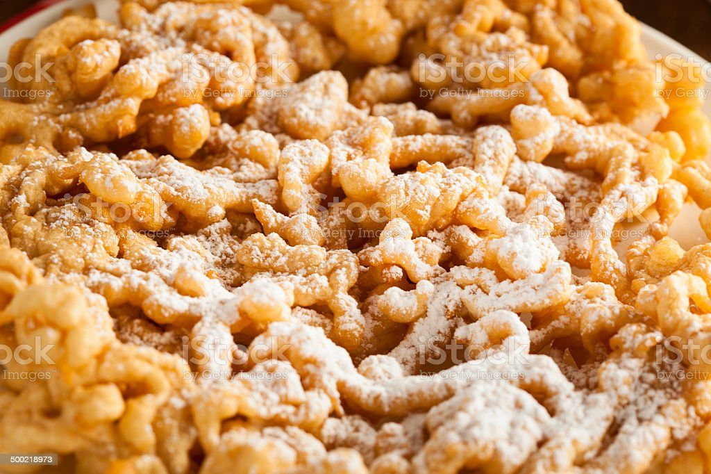 Homemade Funnel Cake with Powdered Sugar stock photo