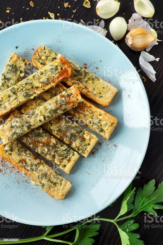 Homemade garlic bread on toast stock photo