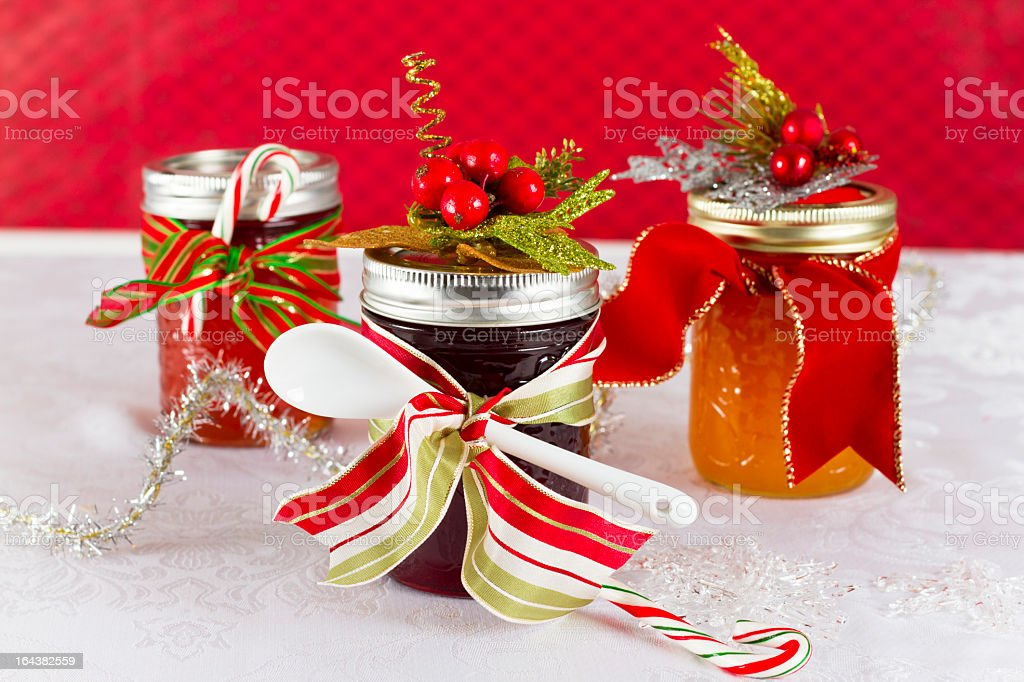 Homemade Gifts of Jam Decorated Jelly Jars. Homemade gifts Celebration Event Stock Photo